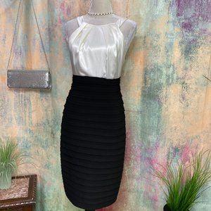 📌xscape Classic Black & White Cocktail Dress